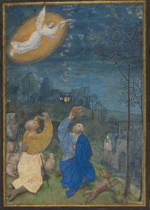 Annunciation to the Shepherds/ Master of the Houghton Miniatures (Flemish, act. ca. 1480-ca. 1485). The Annunciation to the Shepherds, late 1470s-early 1480s, from the Emerson-White Hours. Ghent (?). Tempera colors and gold paint on parchment. 12.5 x 9 cm. 95.ML.53 recto. J. Paul Getty Museum. Public Domain
