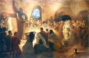 St. Peter Preaching the Gospel in the Catacombs by Jan Styka, Public Domain