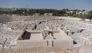 A model of Herod's Temple adjacent to the Shrine of the Book exhibit at the Israel Museum, Jerusalem. Public Domain